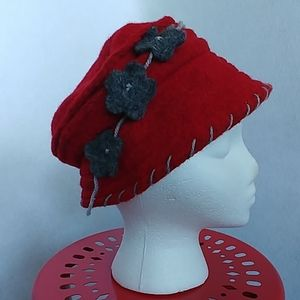 LAFENICE Wool Hat w/ Flowers Made in Italy